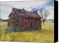Egg Tempera Painting Canvas Prints - Sharecroppers Shack Canvas Print by Peter Muzyka