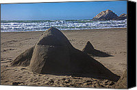 Seal Canvas Prints - Shark sand sculpture Canvas Print by Garry Gay