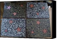 Wood Mixed Media Canvas Prints - Sharpie Star Tv Table Set Canvas Print by Mandy Shupp