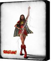 Super Heroe Canvas Prints - Shazam - Mary Marvel Canvas Print by Frederico Borges