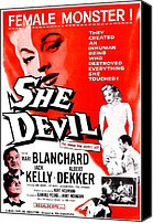 Horror Canvas Prints - She Devil, Blonde Woman Featured Canvas Print by Everett