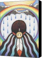 Native Drawings Canvas Prints - She Who Brings The Rain Canvas Print by Amy S Turner