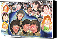 Beatles Pastels Canvas Prints - Shea Stadium 1965 Canvas Print by Moshe Liron