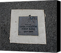 Ny Mets Canvas Prints - Shea Stadium First Base Canvas Print by Rob Hans