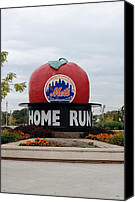 Ny Mets Canvas Prints - Shea Stadium Home Run Apple Canvas Print by Rob Hans