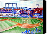 Shea Stadium Painting Canvas Prints - Shea Stadium Canvas Print by Sandy Ryan