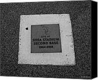 Mlb Canvas Prints - Shea Stadium Second Base Canvas Print by Rob Hans
