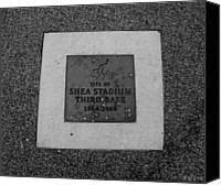 Mlb Canvas Prints - SHEA STADIUM THIRD BASE in BLACK AND WHITE Canvas Print by Rob Hans