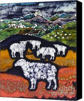 Midnight Tapestries - Textiles Canvas Prints - Sheep at Midnight Canvas Print by Carol  Law Conklin