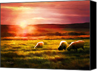 Simulation Canvas Prints - Sheep In Sunset Canvas Print by Suni Roveto