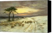 Joseph Farquharson Canvas Prints - Sheep in the Snow Canvas Print by Joseph Farquharson