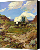 Reproduction Canvas Prints - Sheep Wagon Canvas Print by Pg Reproductions