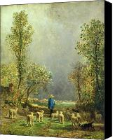 Grey Painting Canvas Prints - Sheep watching a Storm Canvas Print by Constant-Emile Troyon