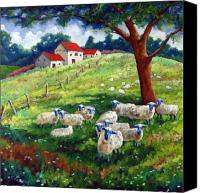 Prankearts Canvas Prints - Sheeps in a field Canvas Print by Richard T Pranke