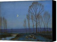 Moonlit Painting Canvas Prints - Shepherd and Sheep at Moonlight Canvas Print by OB Morgan