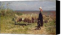 Farms Canvas Prints - Shepherdess Canvas Print by Anton Mauve