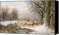 Christmas Cards Painting Canvas Prints - Shepherdess with her Flock in a Winter Landscape Canvas Print by Alexis de Leeuw