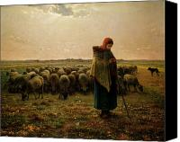 Scenes Painting Canvas Prints - Shepherdess with her Flock Canvas Print by Jean Francois Millet
