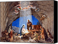 City Drawings Canvas Prints - Shepherds Field Nativity Painting Canvas Print by Munir Alawi