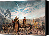 City Drawings Canvas Prints - Shepherds Field Painting Canvas Print by Munir Alawi