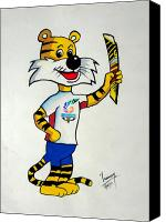 Mascot Drawings Canvas Prints - Shera The Mascot for CWG2010 Canvas Print by Tanmay Singh