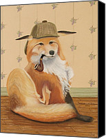 Fox Pastels Canvas Prints - Sherlock Fox Canvas Print by Teresa LeClerc