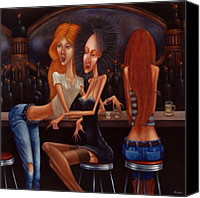Night Out Painting Canvas Prints - SHERRY CHAMBORD AND COGNAC -  girls night out 1998 Canvas Print by Larry Preston