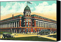 Baseball Painting Canvas Prints - Shibe Park Baseball Stadium In Philadelphia Pa Canvas Print by Dwight Goss