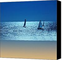 Yachts Digital Art Canvas Prints - Shining water Canvas Print by Sharon Lisa Clarke