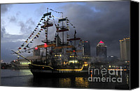 Tampa Bay Florida Canvas Prints - Ship in the Bay Canvas Print by David Lee Thompson