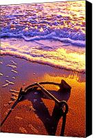 Sandy Canvas Prints - Ships anchor on beach Canvas Print by Garry Gay