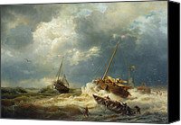 Storm Painting Canvas Prints - Ships In A Storm On The Dutch Coast Canvas Print by Andreas Achenbach