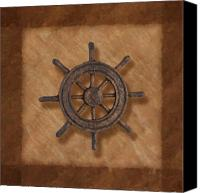 Earth Tones Canvas Prints - Ships Wheel Canvas Print by Tom Mc Nemar