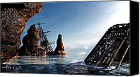 Ship Mixed Media Canvas Prints - Shipwreck Canvas Print by Bob Orsillo
