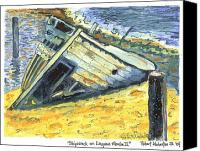Shipwreck Painting Canvas Prints - Shipwreck On Laguna Madre II Canvas Print by Robert Wolverton Jr