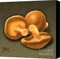 Mushroom Drawings Canvas Prints - Shitake Mushrooms Canvas Print by Marshall Robinson