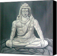 Indian God Canvas Prints - Shiva Canvas Print by Nidhi Khosla