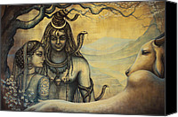 Indian God Canvas Prints - Shiva Parvati . Spring in Himalayas Canvas Print by Vrindavan Das
