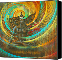 Indian God Canvas Prints - Shiva Shakti Canvas Print by Vrindavan Das