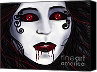 Spooky Digital Art Canvas Prints - Shock At First Bite Canvas Print by Roxy Riou