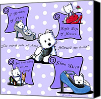 Westies Canvas Prints - Shoe Diva Westies Canvas Print by Kim Niles