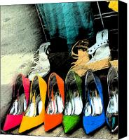 Orange Mixed Media Canvas Prints - Shoes Canvas Print by Gary Everson