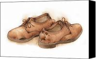 Brown Drawings Canvas Prints - Shoes02 Canvas Print by Kestutis Kasparavicius