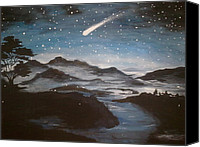 Snowy Night Painting Canvas Prints - Shooting Star  Canvas Print by Irina Astley