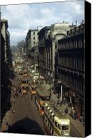 Caucasian Appearance Canvas Prints - Shoppers And Trams Clog Renfield Street Canvas Print by B. Anthony Stewart