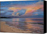 Landscapes Pastels Canvas Prints - Shore of Solitude Canvas Print by Susan Jenkins