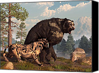 Ice Age Canvas Prints - Short-faced Bear and Saber-Toothed Cat Canvas Print by Daniel Eskridge