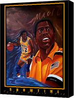 Magic Johnson Canvas Prints - Showtime Canvas Print by Cynthia Bluford