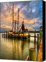 Florida Bridges Canvas Prints - Shrimp Boat at Sunset Canvas Print by Debra and Dave Vanderlaan