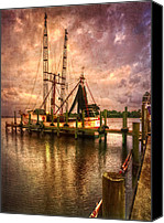Florida Bridge Canvas Prints - Shrimp Boat at Sunset II Canvas Print by Debra and Dave Vanderlaan